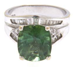 Large Green Quartz & Diamond Accent Rings