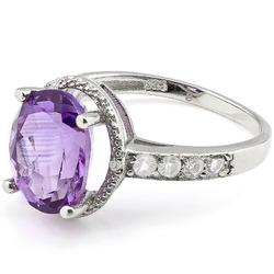 3.42Ctw Amethyst And White Topaz Ring
