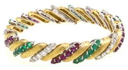 Diamond, Ruby, & Emerald Bracelet in Platiunum & 18Kt