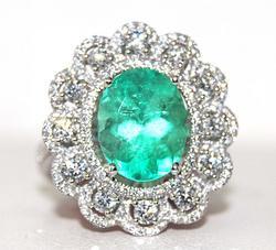 Ladies 18kt Gold Diamond & Emerald Ring, 3+ctw