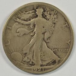 Great 1921-S Walking Liberty Half Dollar. Nice