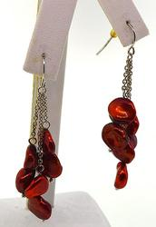 Burgandy Color Sterling Silver Earrings