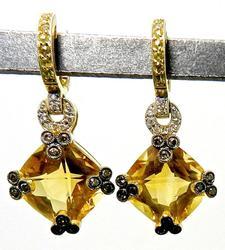 Fabulous Citrine and Diamond Earrings