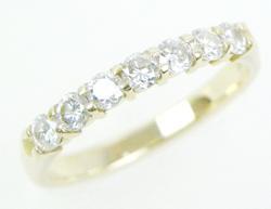 14K Gold Band with 7 Brilliant Diamonds