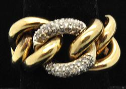 Ladies Curb Link Design 14kt Gold Diamond Ring
