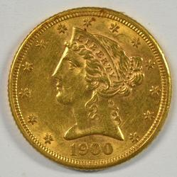 Lovely 1900-S US $5 Liberty Gold Piece. Better date.
