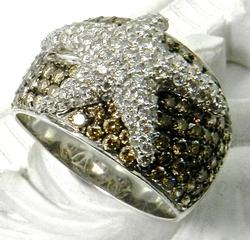 Starfish Diamond Cluster Ring