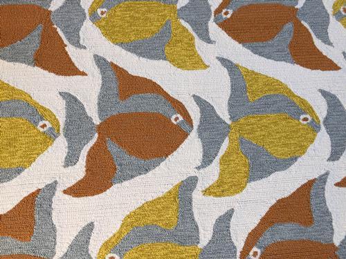 Unique modern coastal fish pattern area rug 5x8 for Fish area rug