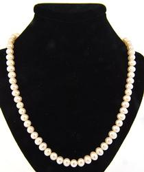 Freshwater Pearl Necklace with Diamond Clasp in 18K