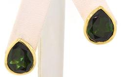8.0 CTW Green Pear Shaped Tourmaline Earrings