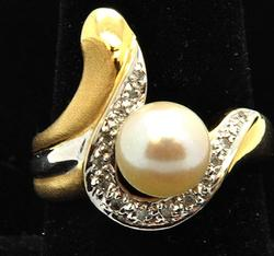 Ladies Pearl & Diamond Ring, 14k