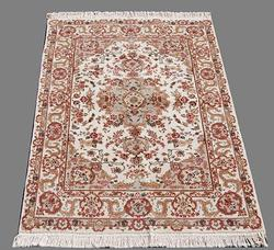 Silk Highlighted Hand Woven Creme Tabriz Design Rug