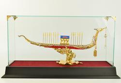 24K Gold Plated Royal Barge Suphannahong Sculpture
