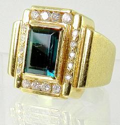 Masculine Green Tourmaline Ring