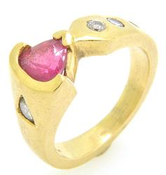 Unique Design Diamond And Tourmaline 14kt Gold Ring