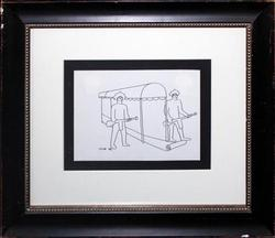 MARK KOSTABI ORIGINAL DRAWING ON PAPER, ARMED GUARDS