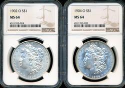 Virtual Gem BU 1902-O & 1904-O Morgan Dollars. NGC MS64
