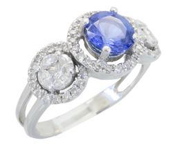 High Quality Diamond & Tanzanite Ring Halo Design