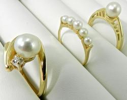 Group of 3 14k Pearl Rings