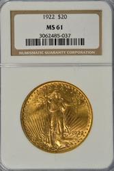 Better Date BU 1922 US St. Gaudens $20 Gold Piece. NGC MS61