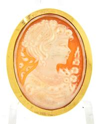 Cameo Pin/Pendant with 18kt Bezel