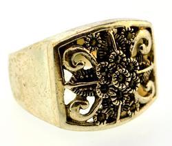 Sterling Silver Ring Pierced Flower