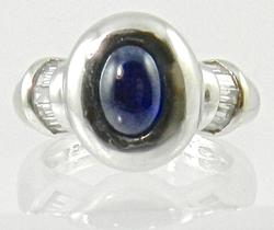 18k White Gold Cabochon Sapphire Ring