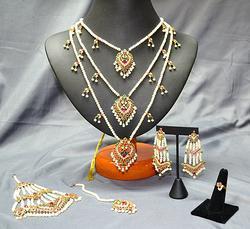 22KT Gold Indian Bridal 5PC Set w/ Rubies & Emeralds
