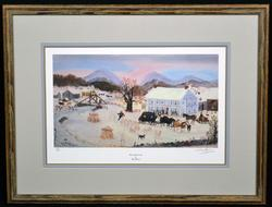 Signed Winter Scene Lithograph by Artist Will Moses