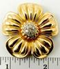 Large & Heavy 14kt Gold Flower Brooch With Diamonds