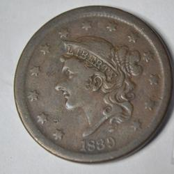 1839 Silly Head Large Cent