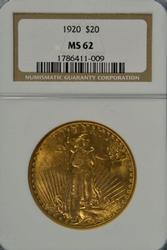 Ultra Scarce BU 1920 St. Gaudens $20 Gold. NGC MS62
