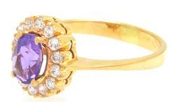 Vintage 18kt Gold Amethyst & Pearl Ring