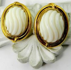 Pair of 14kt Gold Carved White Coral Earrings