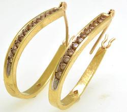 Diamond Elongated Gold Hoops