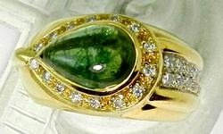 Fancy 18kt Gold Green Tourmanline & Diamond Ring