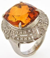 15CT Palmiera Citrine, Platinum & Diamond Ring
