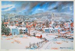 Signed Lithograph, a Winter Scene by B. Richardson