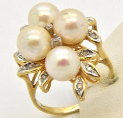 Vintage Pearl & Diamond Earrings and Ring Set