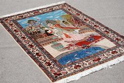 Splendid And Enchanting Fine Persian Sarouk Pictorial 4.5x6.5