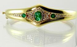 Emerald and Diamond 18KT Gold Bangle