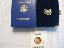 1991  Proof  Tenth Ounce, Five Dollar US  Gold with box and paper