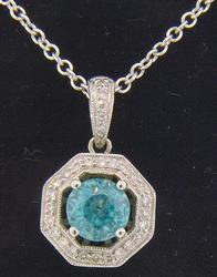 Blue Zircon and Diamond Pendant Necklace