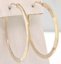 2 Inch Flat Sterling Hoop Earrings