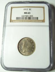 1912 V Nickel in an  NGC MS 63 Holder