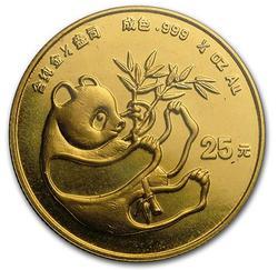 1984 1/4oz 25Y Gold Chinese Panda Coin, BU