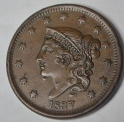 1837 Near Unc Large Cent  Newcomb-10