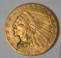 Sharp Gem Bu 1915 Gold Indian Quarter Eagle