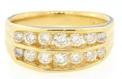 Gent's 14kt Gold and 1 CTW Diamond Wedding Band