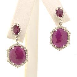 Ruby and Diamond Fancy Drop Earrings in 14kt Gold